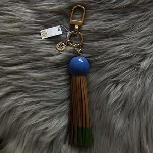 Tory Burch Leather Tassel Keychain